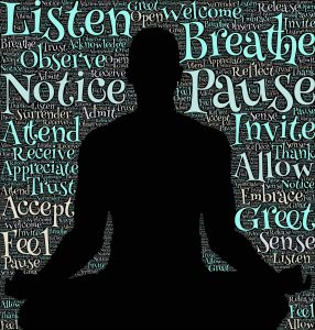 listening in meditation pose, kind words
